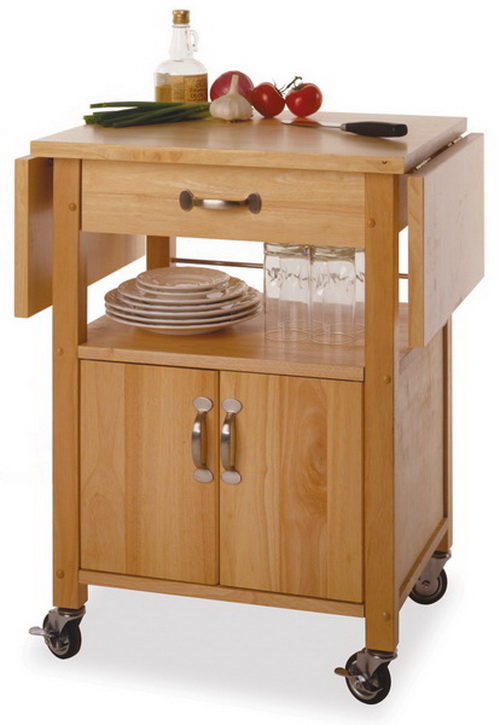Winsome 84920 Wood Kitchen Cart Double Drop Leaf Cabinet With Shelf