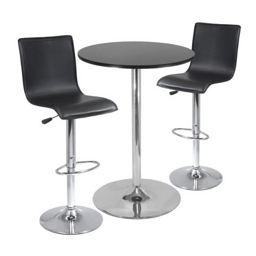 "Winsome 93345 Spectrum,  3pc Pub Table Set, 28"" Round Table with 2 L-Shape Airlift Stools"