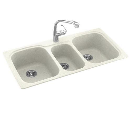Swanstone Kstb 44 Inch By 22 Inch Drop In Triple Bowl Kitchen Sink Bisque