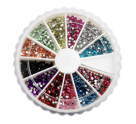 ALICE 1400 3mm Round Premium Quality Glitter Nail Art Rhinestone Wheel Kit, Gifts Ideas, Costume Accessories