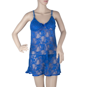 Women's Feminine Blue Lace Chemise & Thong Set, Valentine's Gift, S Size