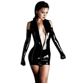 Muka Shiny Black Dress Mini Skirt with Long Gloves