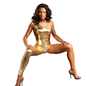 Gold Exotic Shiny Lingerie Bodysuit, One Legged Dominatrix Bondage Oufit Costume