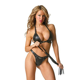 (Price/ Set) Black Triangle Bikini Lingerie Set With Blacksnake