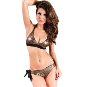 Halter Brown Leopard Print Leopard Bikini Set/ Swimwear