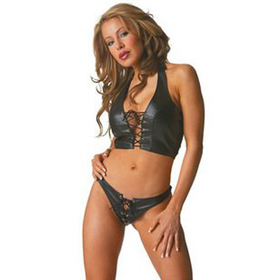 Hot Marie Lingerie Set With Criss-Cross Design, Black