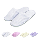 Opromo Unisex Non-Skid Striped Terry Cotton Spa Slippers Indoor House Slippers