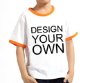 Opromo Custom Youth Cotton Short Sleeve Ringer T Shirt, 5.3oz