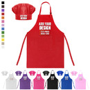 Custom Colorful Cotton Canvas Kids Aprons and Hat Set, Party Favors - 1 Color Printing