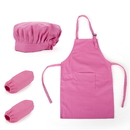 Opromo Colorful Cotton Canvas Kids Apron, Chef Hat and Oversleeve Set, Party Favors