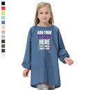 Custom Kids Solid Color Waterproof Long Sleeved Paint Smock with One Front Pocket, Various Colors