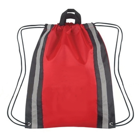 "Blank 210D Polyester Reflective Drawstring Backpack, 14"" W x 17.5"" H, Price/Piece"