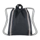 "Blank Large 210D Polyester Reflective Drawstring Backpack, 16"" W x 20"" H"