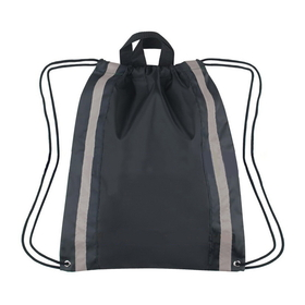 "Blank Large 210D Polyester Reflective Drawstring Backpack, 16"" W x 20"" H, Price/Piece"