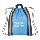 Customized Small 210D Polyester Reflective Drawstring Backpack, 13