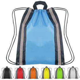 "Blank Small 210D Polyester Reflective Drawstring Backpack, 13"" W x 15.75"" H, Price/Piece"