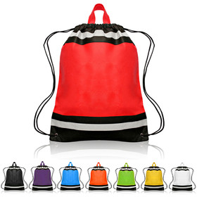 "Blank Large 210D Polyester Reflect Drawstring Sport Packs, 16"" W x 20"" H, Price/Piece"