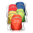 Customized 190T Polyester Zip Pocket Drawstring Backpacks - Long Leadtime, 17.75