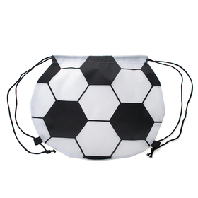 "Blank Soccer Ball 210D Polyester Drawstring Backpack, 15.75""W x 14""H, Price/Piece"