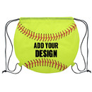Customized Softball 210D Polyester Drawstring Backpack, 14