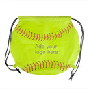 Customized Softball 210D Polyester Drawstring Backpack - Long Leadtime, 14