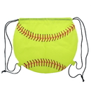 "Blank Softball 210D Polyester Drawstring Backpack, 14""H x 15 3/4""W"