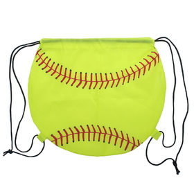 "Blank Softball 210D Polyester Drawstring Backpack, 14""H x 15 3/4""W, Price/Piece"