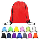 """210D Nylon Drawstring Backpack with PU Reinforced Corners, 13"""" W x 17"""" H - In stock"""