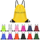 Water-Repellent Zipper Drawstring Backpack, 210D Polyester 15