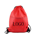 Customized 210D Polyester Water-Repellent Drawstring Backpack with Front Zipper - Long Leadtime, 15
