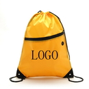 Customized 210D Polyester Drawstring Backpack with Front Zipper, 13.5