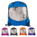 Blank Clear-View Drawstring Backpack, 210D Waterproof Polyester, 15 1/2
