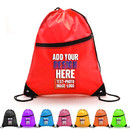 Custom 210D Polyester Drawstring Backpack w/Front Zipper, 13