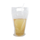 (Price/50 PCS) Reclosable Zipper Clear Stand-up Drink Bag w/Handle, 6 Mil, Multiple Sizes (8oz, 16oz, 25oz, 34oz), FDA Compliant