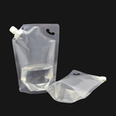 (Price/50 PCS) Clear Spouted Stand up Pouch with Handle, Good for Shampoo, Liquid Soap Packaging, 15mm Spout (34oz, 68oz), FDA Compliant