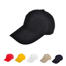 Black 6-Panel Cotton Structured Caps - In Stock