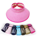 Women's Roll Up Foldable Hat Striped Wide Brim Straw Sun Visor Cap