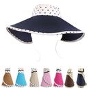 Opromo Womens Foldable Polka Dot Ribbon Straw Wide Brim Floppy Sun Visor Hat
