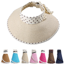 Opromo Kids Girls Polka Dot Ribbon Sun Visor Foldable Roll up Summer Beach Wide Brim Straw Hat
