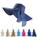 Opromo Foldable Womens Floppy Big Bowknot Straw Hat Wide Brim Beach Hat Sun Hat