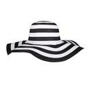 Opromo Foldable Women's Summer Beach Sun Hat Floppy Big Brim Striped Straw Hat