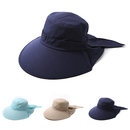 Opromo Lady Womens Summer Flap Cover Cap Anti-UV UPF 50+ Sun Shade Hat With Bow