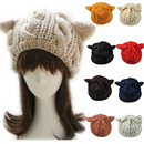Opromo Women's Devil Horn Hat Cat Ears Crochet Braided Knit Beanie Hat Ski Cap