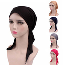 Opromo Pre-Tied Cotton Muslim Head-Cover Snood Head-Scarf Hat Chemo Cancer Cap
