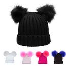Opromo Cute Women's Winter Chunky Knit Cap Double Faux Fur Pom Pom Beanie Hat