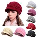 Opromo Women Winter Warm Fleece Lining Knit Beret Hat Wool Snow Ski Cap With Visor