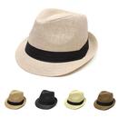 Opromo Unisex Summer Short Brim Straw Trilby Fedora Hat Sun Hat with Solid Band