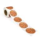 "2"" Diameter Basketball Stickers, 250pcs per Roll - In Stock"