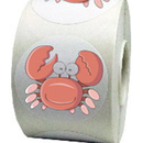 "Pink Crab Roll Sticker, 250pcs per Roll, 2""Dia"
