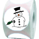 "Snowman Roll Sticker, Christmas Design Sticker, 250pcs per Roll, 2""Dia"